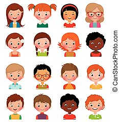 ragazzi, differente, set, avatars