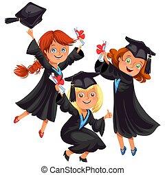 ragazzi, felice, ragazze, parte laurea