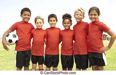 ragazzi, football, ragazze, giovane, squadra