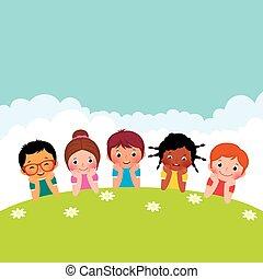ragazzi, gruppo, bambini, gi, felice