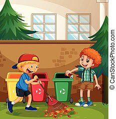 ragazzi, iarda, aiuto, pulizia