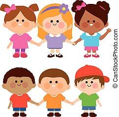 ragazzi, illustrazione, vettore, diverso, hands., gruppo, presa a terra, ragazze