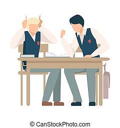 ragazzi, parlare, vettore, scuola, illustrazione, due, scrivania, seduta