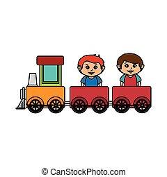 ragazzi, poco, treno, giocattolo