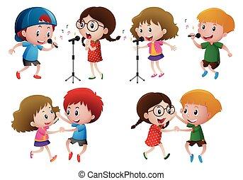 ragazzi, ragazze, canto, ballo