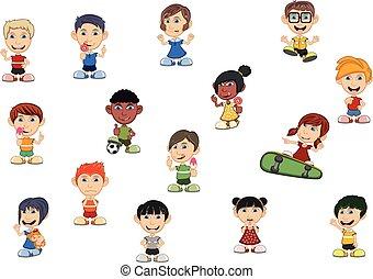 ragazzi, set, ragazze, cartone animato, bambini