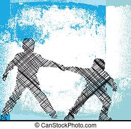 ragazzi, vettore, hands., illustrazione, presa a terra