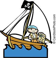 ragazzo, #2, barca, pirata