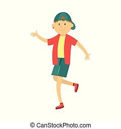 ragazzo adolescente, ballo, anca, berretto, vettore, luppolo, capretto