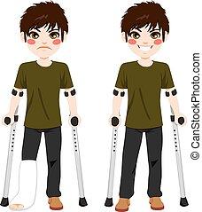 ragazzo, adolescente, crutches