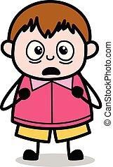 ragazzo, -, adolescente, grasso, vettore, illustrazione, cartone animato, orripilato