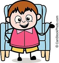 ragazzo, -, adolescente, grasso, vettore, illustrazione, cartone animato, presentare