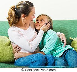 ragazzo adolescente, madre, confortevole
