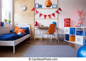 ragazzo adolescente, moderno, camera letto