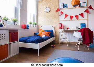 ragazzo adolescente, moderno, disegnato, camera letto