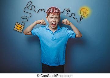 ragazzo adolescente, mostra, il, forza, di, suo, mani, e,...