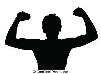 ragazzo adolescente, muscoli, silhouette, esercitarsi