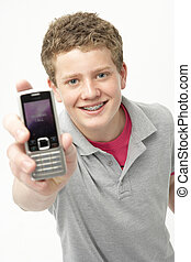 ragazzo, adolescente, telefono mobile, presa a terra, ritratto, sorridente
