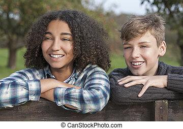 ragazzo, &, adolescenti, americano, corsa, africano, mescolato, ragazza