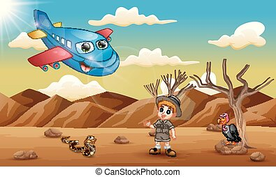 ragazzo, aereo, deserto, cartone animato