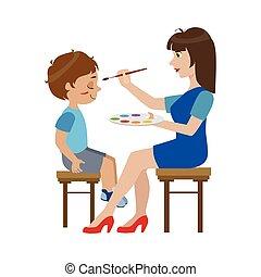 ragazzo, affrontare dipingere, artista