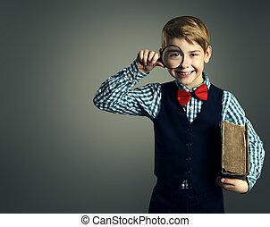 ragazzo, alunno, educazione, libro, vetro, bambino, magnificatore, capretto, ingrandendo, felice