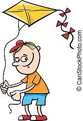 ragazzo, aquilone, illustrazione, cartone animato