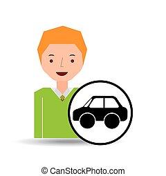 ragazzo, automobile, bussola, cartone animato, icona, disegno