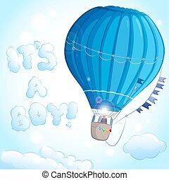 ragazzo, balloon, aria