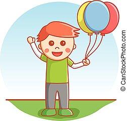 ragazzo, balloon, gioco