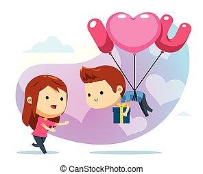 ragazzo, balloon, pronto, presa, galleggiante, ragazza