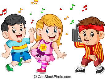 ragazzo, bambini, ballo, vendemmia, prese, registratore, hip-hop