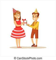 ragazzo, bambini, dare, carattere, scena, festa compleanno, ragazza sorridente, cartone animato, presente