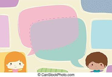 ragazzo, bambini, illustrazione, dire, discorso, ragazza, bolla