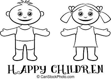 ragazzo, bambini, ragazza, contorni