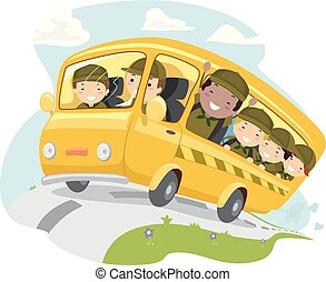 ragazzo, bambini, stickman, autobus, campeggiare, illustrazione, esploratore