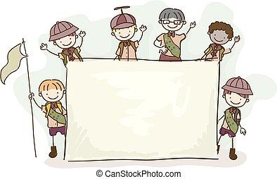 ragazzo, bambini, stickman, illustrazione, asse, esploratori