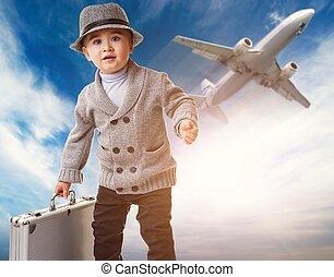 ragazzo bambino, cartella, contro, aeroplano.