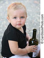 ragazzo bambino, con, bottiglia