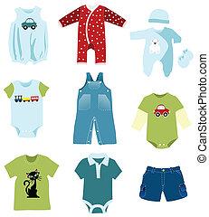 ragazzo bambino, elementi, vestiti