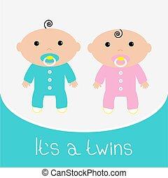 ragazzo, bambino, gemelli, relativo, card., girl., doccia, appartamento, disegno