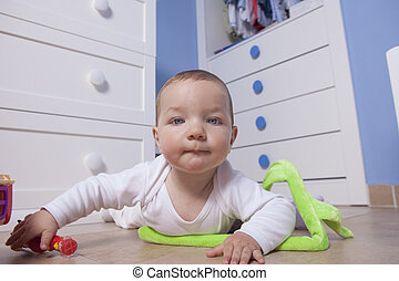 ragazzo bambino, gioco, in, suo, giocattolo, stanza