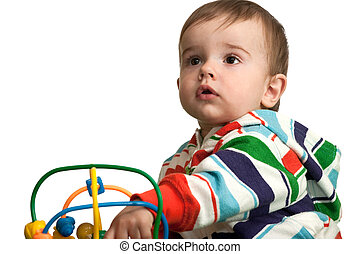 ragazzo bambino, pensieroso, giocattolo