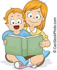 ragazzo bambino, sorella, libro, lettura