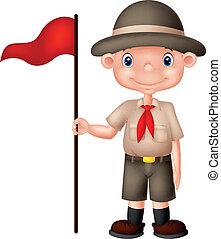 ragazzo, bandiera, esploratore, presa a terra, cartone animato, rosso