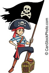 ragazzo, bandiera, pirata, presa a terra