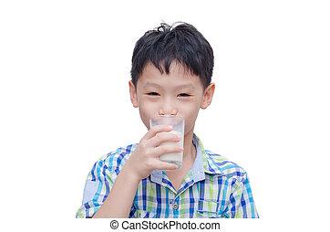 ragazzo, bere, giovane, latte