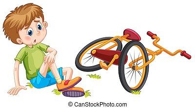 ragazzo, bicicletta, caduto, spento