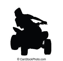ragazzo, bicicletta, silhouette, da corsa, quad