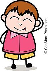 ragazzo, birichino, -, grasso, vettore, illustrazione, cartone animato, adolescente